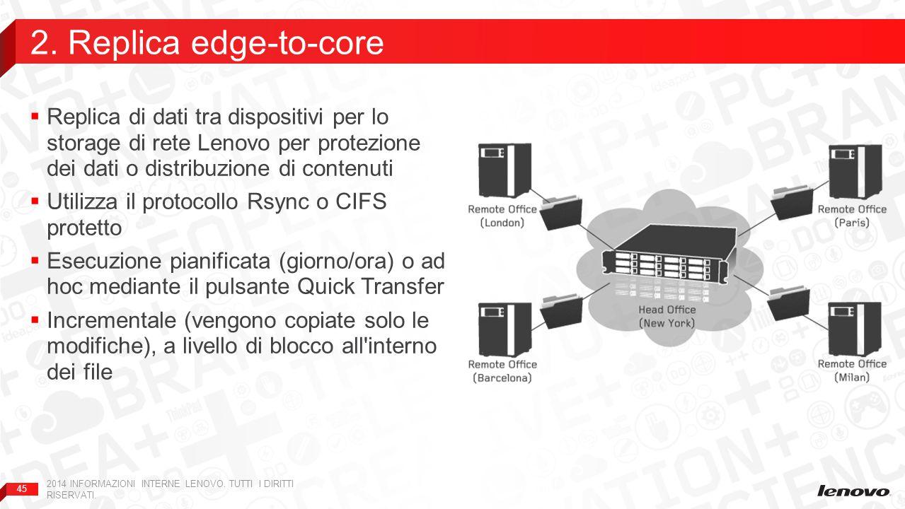 45  Replica di dati tra dispositivi per lo storage di rete Lenovo per protezione dei dati o distribuzione di contenuti  Utilizza il protocollo Rsync