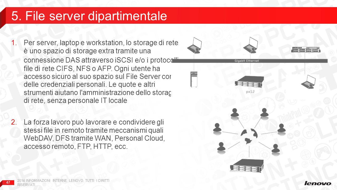 47 1.Per server, laptop e workstation, lo storage di rete è uno spazio di storage extra tramite una connessione DAS attraverso iSCSI e/o i protocolli file di rete CIFS, NFS o AFP.