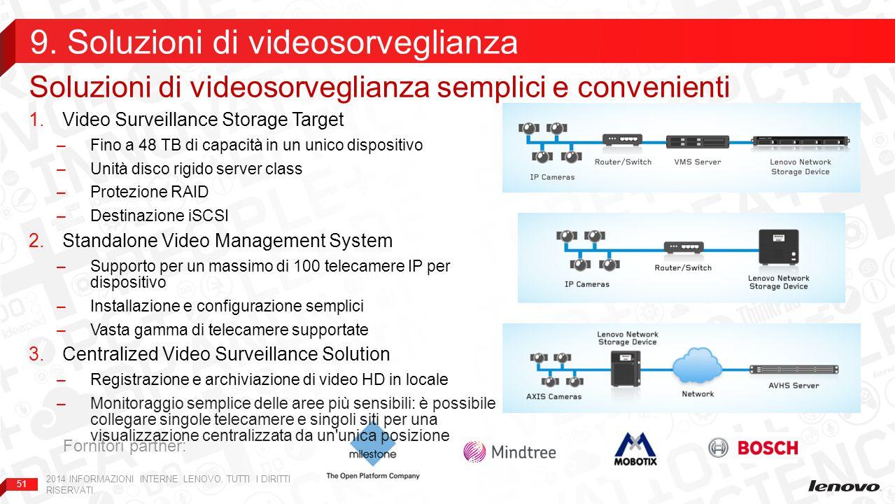 51 1.Video Surveillance Storage Target –Fino a 48 TB di capacità in un unico dispositivo –Unità disco rigido server class –Protezione RAID –Destinazione iSCSI 2.Standalone Video Management System –Supporto per un massimo di 100 telecamere IP per dispositivo –Installazione e configurazione semplici –Vasta gamma di telecamere supportate 3.Centralized Video Surveillance Solution –Registrazione e archiviazione di video HD in locale –Monitoraggio semplice delle aree più sensibili: è possibile collegare singole telecamere e singoli siti per una visualizzazione centralizzata da un unica posizione Soluzioni di videosorveglianza semplici e convenienti 9.