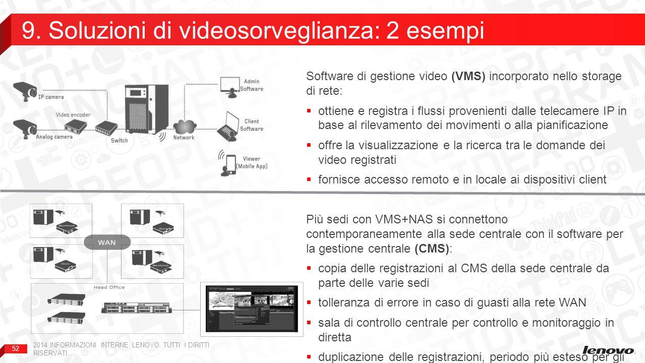 52 Software di gestione video (VMS) incorporato nello storage di rete:  ottiene e registra i flussi provenienti dalle telecamere IP in base al rilevamento dei movimenti o alla pianificazione  offre la visualizzazione e la ricerca tra le domande dei video registrati  fornisce accesso remoto e in locale ai dispositivi client Più sedi con VMS+NAS si connettono contemporaneamente alla sede centrale con il software per la gestione centrale (CMS):  copia delle registrazioni al CMS della sede centrale da parte delle varie sedi  tolleranza di errore in caso di guasti alla rete WAN  sala di controllo centrale per controllo e monitoraggio in diretta  duplicazione delle registrazioni, periodo più esteso per gli archivi centrali  vendita da parte di Lenovo di storage e VMS + server e CMS 9.