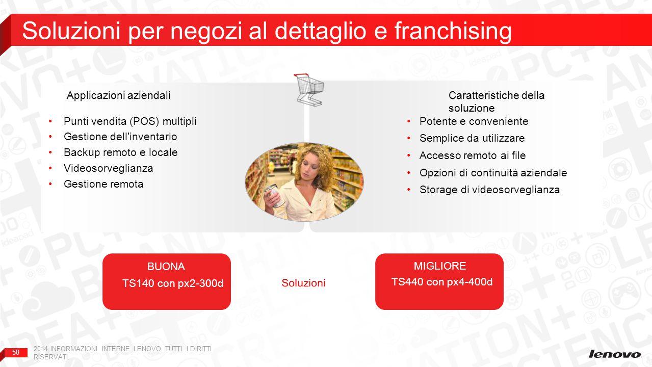 58 Soluzioni per negozi al dettaglio e franchising 2014 INFORMAZIONI INTERNE LENOVO. TUTTI I DIRITTI RISERVATI. Potente e conveniente Semplice da util