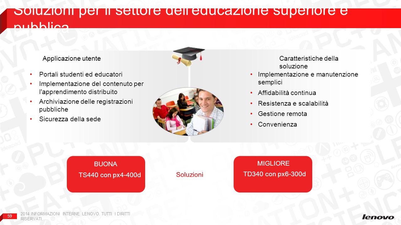 59 Soluzioni per il settore dell'educazione superiore e pubblica 2014 INFORMAZIONI INTERNE LENOVO. TUTTI I DIRITTI RISERVATI. Implementazione e manute