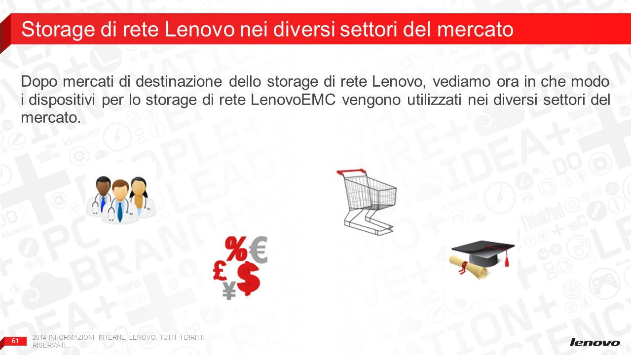 61 Dopo mercati di destinazione dello storage di rete Lenovo, vediamo ora in che modo i dispositivi per lo storage di rete LenovoEMC vengono utilizzati nei diversi settori del mercato.