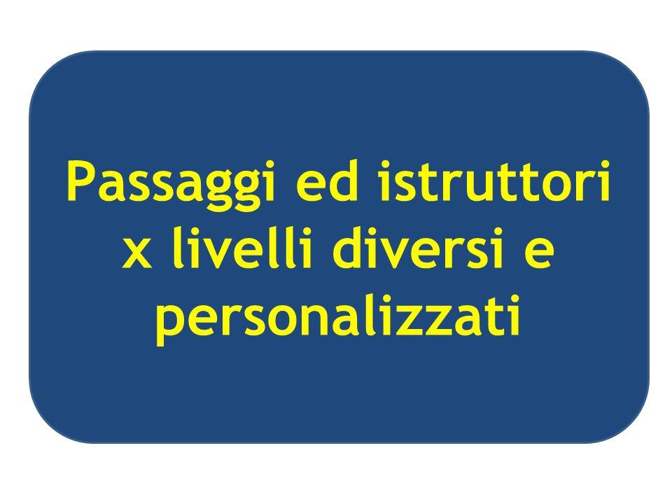 Passaggi ed istruttori x livelli diversi e personalizzati