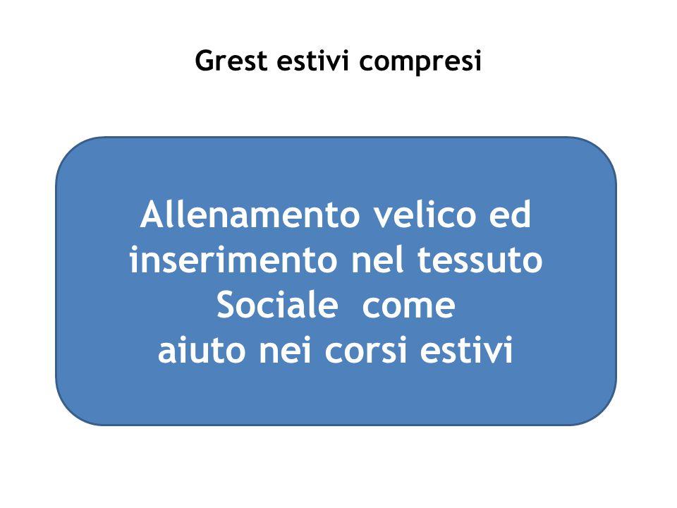 Grest estivi compresi Allenamento velico ed inserimento nel tessuto Sociale come aiuto nei corsi estivi