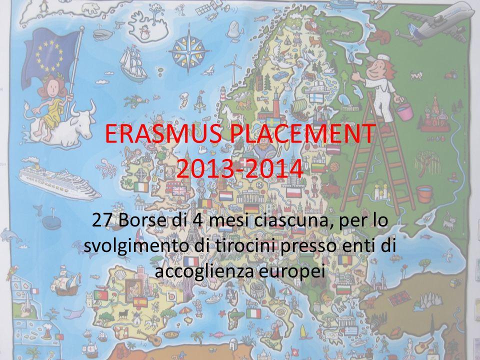 ERASMUS PLACEMENT 2013-2014 27 Borse di 4 mesi ciascuna, per lo svolgimento di tirocini presso enti di accoglienza europei