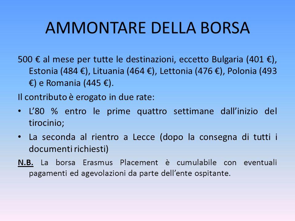 AMMONTARE DELLA BORSA 500 € al mese per tutte le destinazioni, eccetto Bulgaria (401 €), Estonia (484 €), Lituania (464 €), Lettonia (476 €), Polonia (493 €) e Romania (445 €).