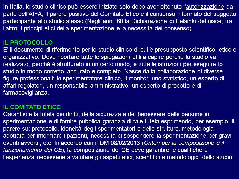 In Italia, lo studio clinico può essere iniziato solo dopo aver ottenuto l'autorizzazione da parte dell'AIFA, il parere positivo del Comitato Etico e