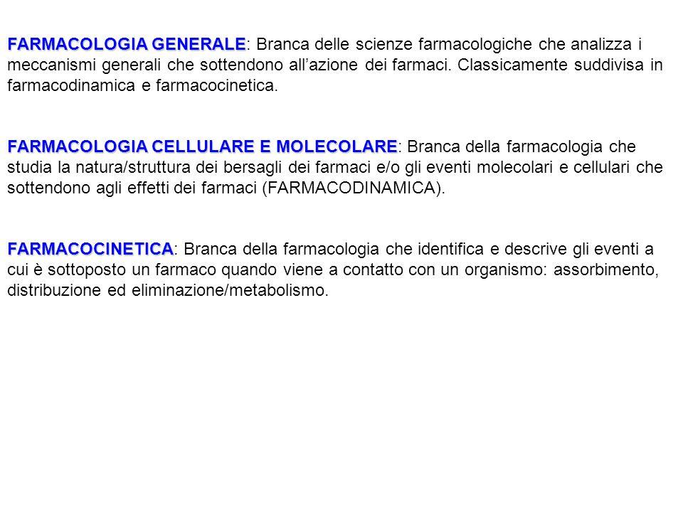FARMACOLOGIA GENERALE FARMACOLOGIA GENERALE: Branca delle scienze farmacologiche che analizza i meccanismi generali che sottendono all'azione dei farm