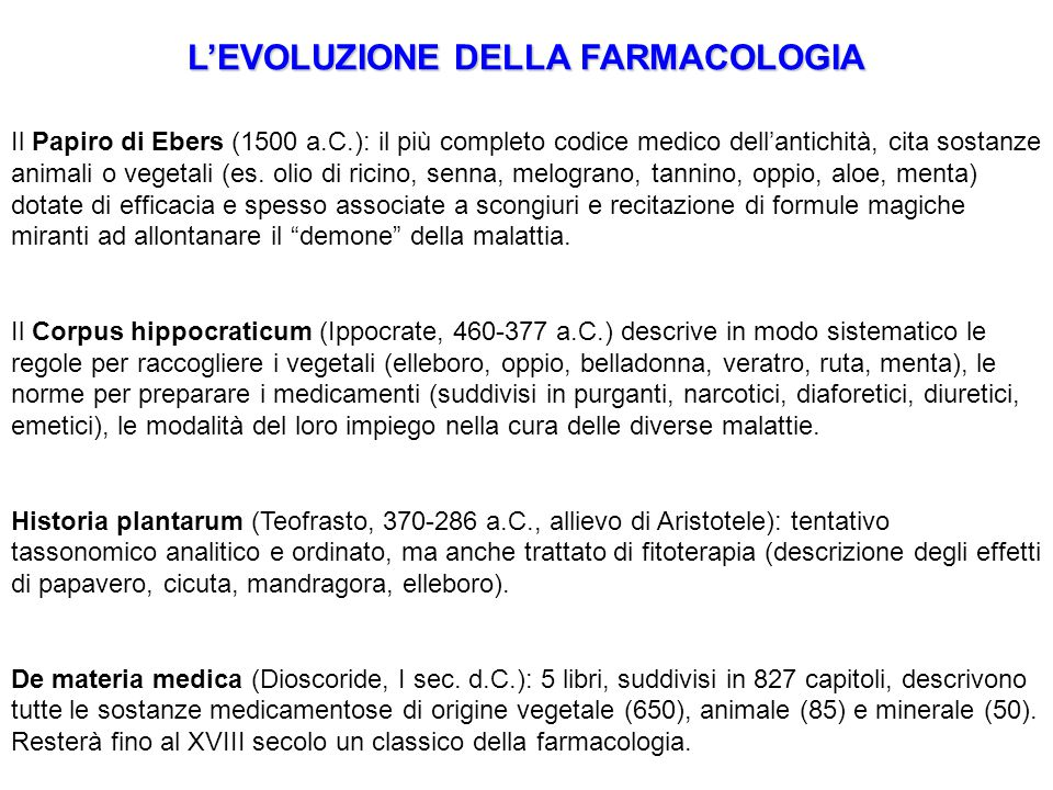 L'EVOLUZIONE DELLA FARMACOLOGIA Il Papiro di Ebers (1500 a.C.): il più completo codice medico dell'antichità, cita sostanze animali o vegetali (es. ol