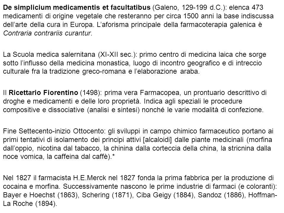 De simplicium medicamentis et facultatibus (Galeno, 129-199 d.C.): elenca 473 medicamenti di origine vegetale che resteranno per circa 1500 anni la ba