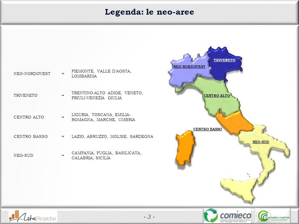 - 3 - Legenda: le neo-aree NEO-NORDOVEST= PIEMONTE, VALLE D'AOSTA, LOMBARDIA TRIVENETO= TRENTINO-ALTO ADIGE, VENETO, FRIULI-VENEZIA GIULIA CENTRO ALTO