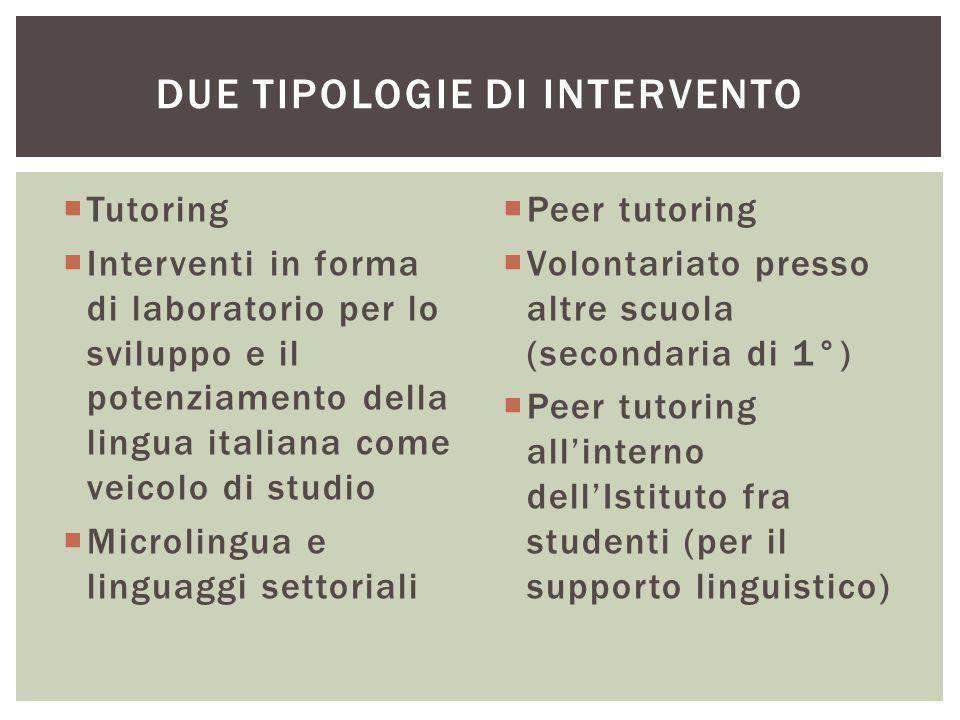  Tutoring  Interventi in forma di laboratorio per lo sviluppo e il potenziamento della lingua italiana come veicolo di studio  Microlingua e lingua