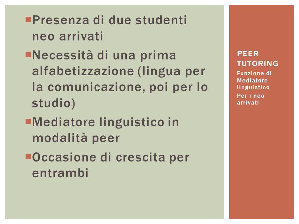  Presenza di due studenti neo arrivati  Necessità di una prima alfabetizzazione (lingua per la comunicazione, poi per lo studio)  Mediatore linguis