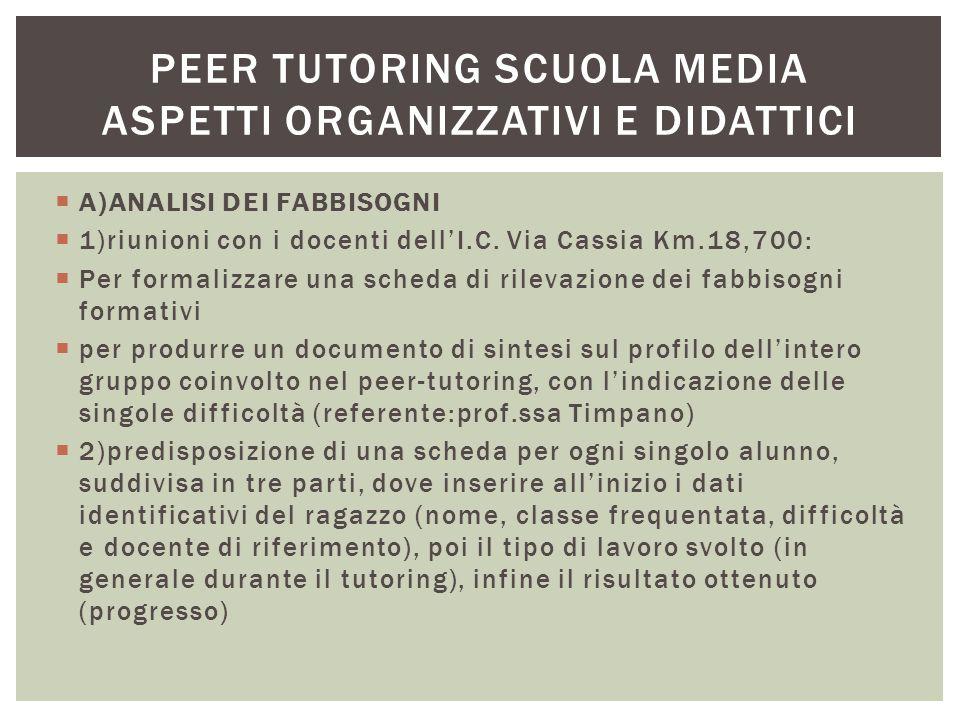  A)ANALISI DEI FABBISOGNI  1)riunioni con i docenti dell'I.C. Via Cassia Km.18,700:  Per formalizzare una scheda di rilevazione dei fabbisogni form