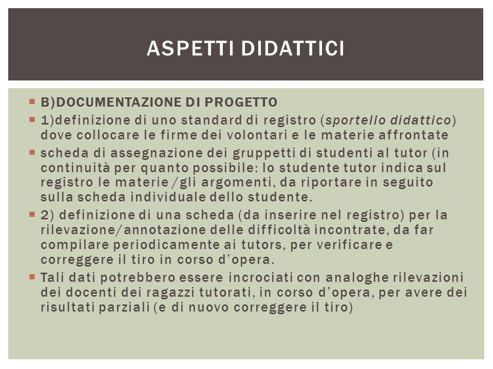  B)DOCUMENTAZIONE DI PROGETTO  1)definizione di uno standard di registro (sportello didattico) dove collocare le firme dei volontari e le materie af