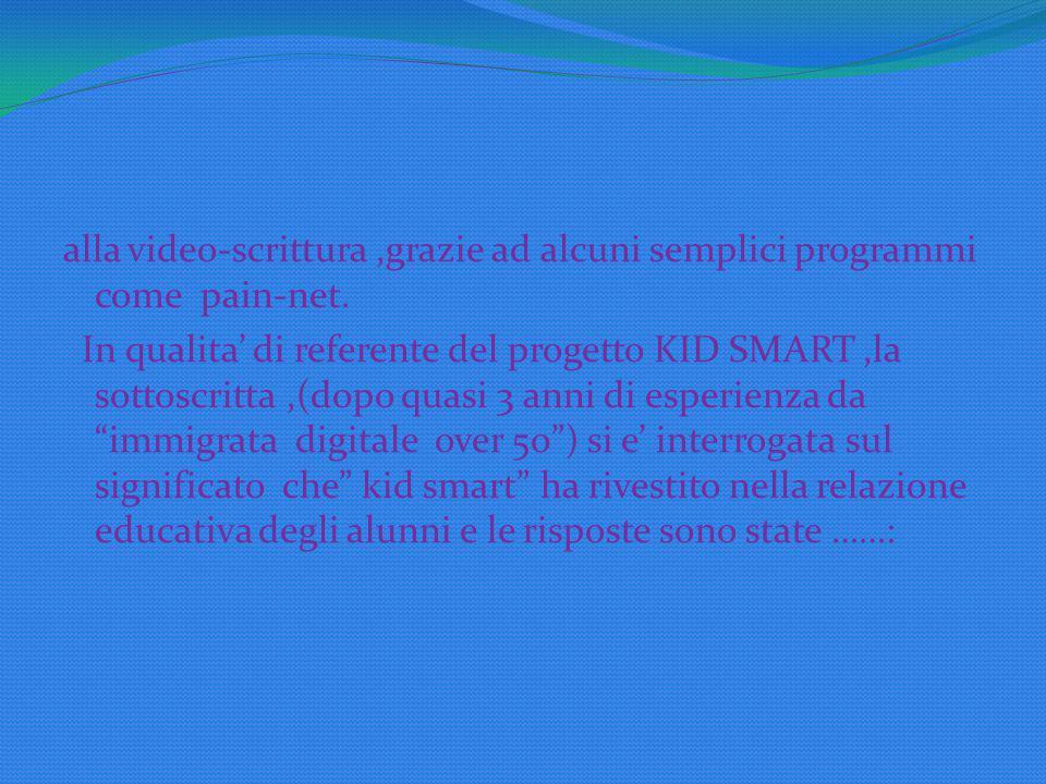 alla video-scrittura,grazie ad alcuni semplici programmi come pain-net.