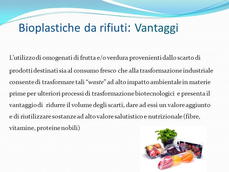 Bioplastiche da rifiuti : Vantaggi L'utilizzo di omogenati di frutta e/o verdura provenienti dallo scarto di prodotti destinati sia al consumo fresco