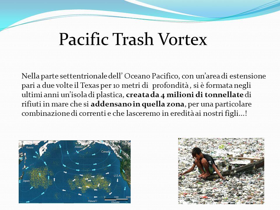 Pacific Trash Vortex Nella parte settentrionale dell' Oceano Pacifico, con un'area di estensione pari a due volte il Texas per 10 metri di profondità, si è formata negli ultimi anni un'isola di plastica, creata da 4 milioni di tonnellate di rifiuti in mare che si addensano in quella zona, per una particolare combinazione di correnti e che lasceremo in eredità ai nostri figli...!