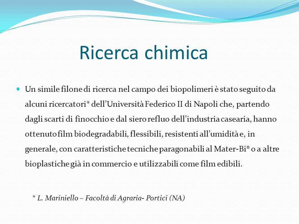 Ricerca chimica Un simile filone di ricerca nel campo dei biopolimeri è stato seguito da alcuni ricercatori* dell'Università Federico II di Napoli che