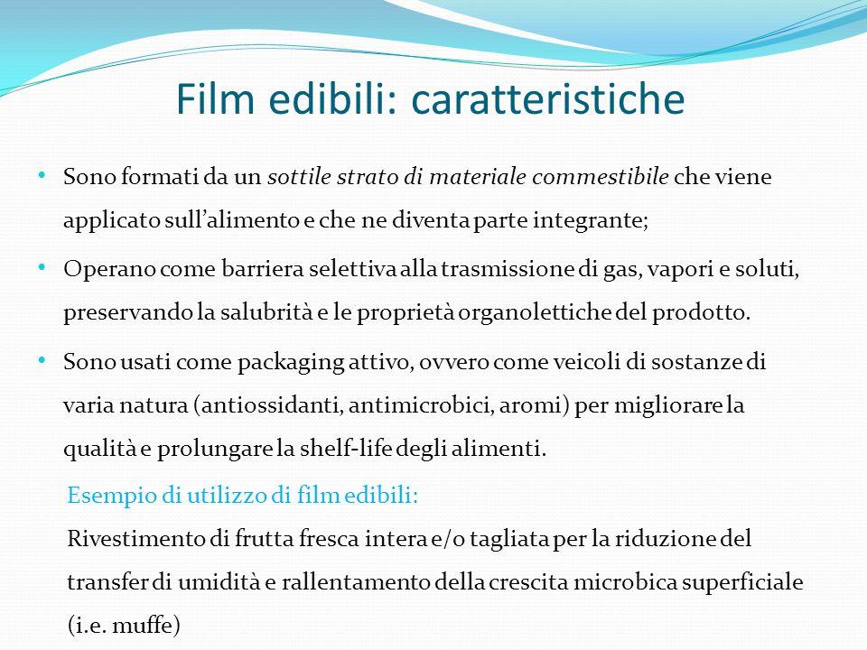 Film edibili: caratteristiche Sono formati da un sottile strato di materiale commestibile che viene applicato sull'alimento e che ne diventa parte int