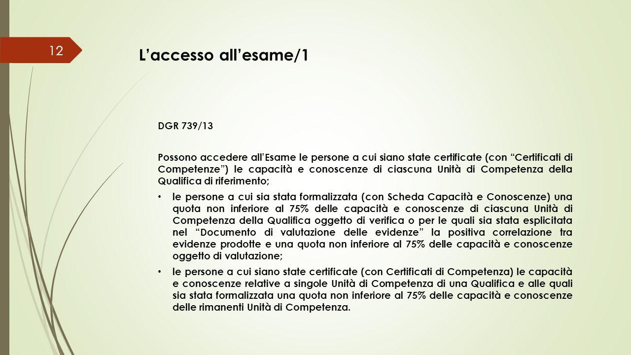 """L'accesso all'esame/1 DGR 739/13 Possono accedere all'Esame le persone a cui siano state certificate (con """"Certificati di Competenze"""") le capacità e c"""