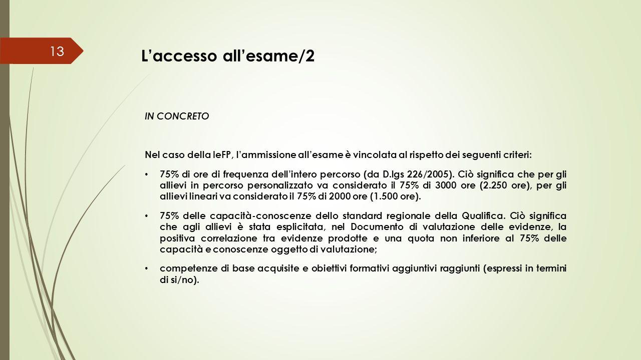 L'accesso all'esame/2 IN CONCRETO Nel caso della IeFP, l'ammissione all'esame è vincolata al rispetto dei seguenti criteri: 75% di ore di frequenza de