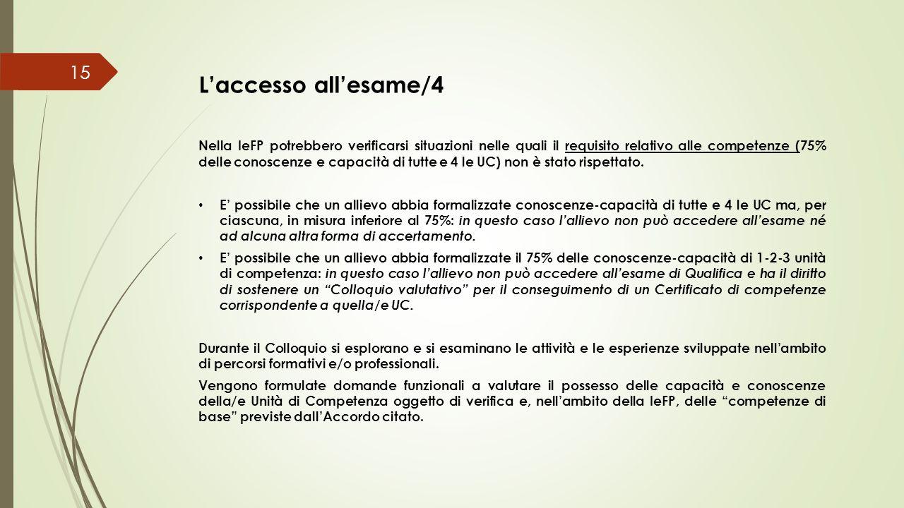 L'accesso all'esame/4 Nella IeFP potrebbero verificarsi situazioni nelle quali il requisito relativo alle competenze (75% delle conoscenze e capacità