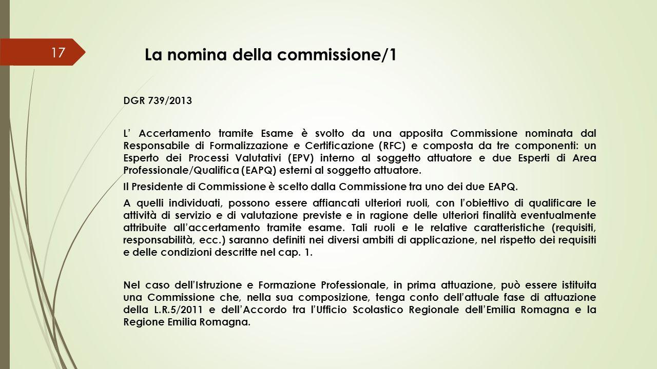 La nomina della commissione/1 DGR 739/2013 L' Accertamento tramite Esame è svolto da una apposita Commissione nominata dal Responsabile di Formalizzaz