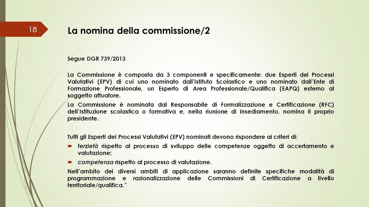 La nomina della commissione/2 Segue DGR 739/2013 La Commissione è composta da 3 componenti e specificamente: due Esperti dei Processi Valutativi (EPV)