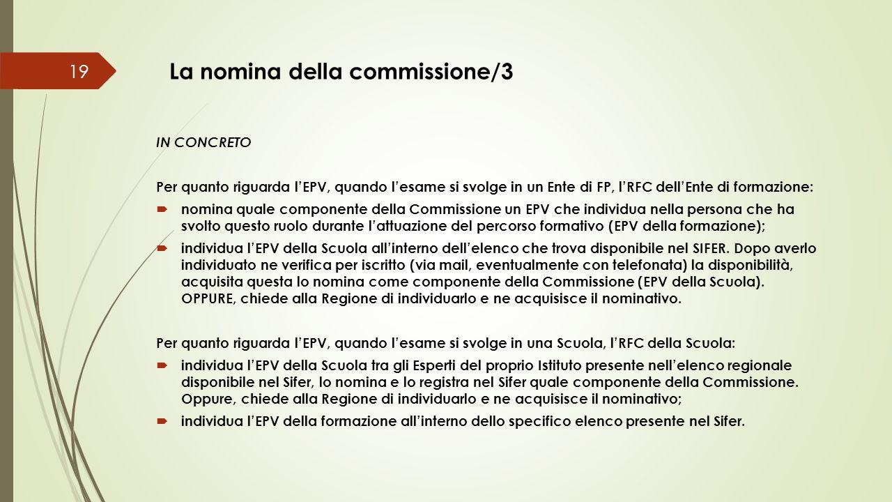 La nomina della commissione/3 19 IN CONCRETO Per quanto riguarda l'EPV, quando l'esame si svolge in un Ente di FP, l'RFC dell'Ente di formazione:  no