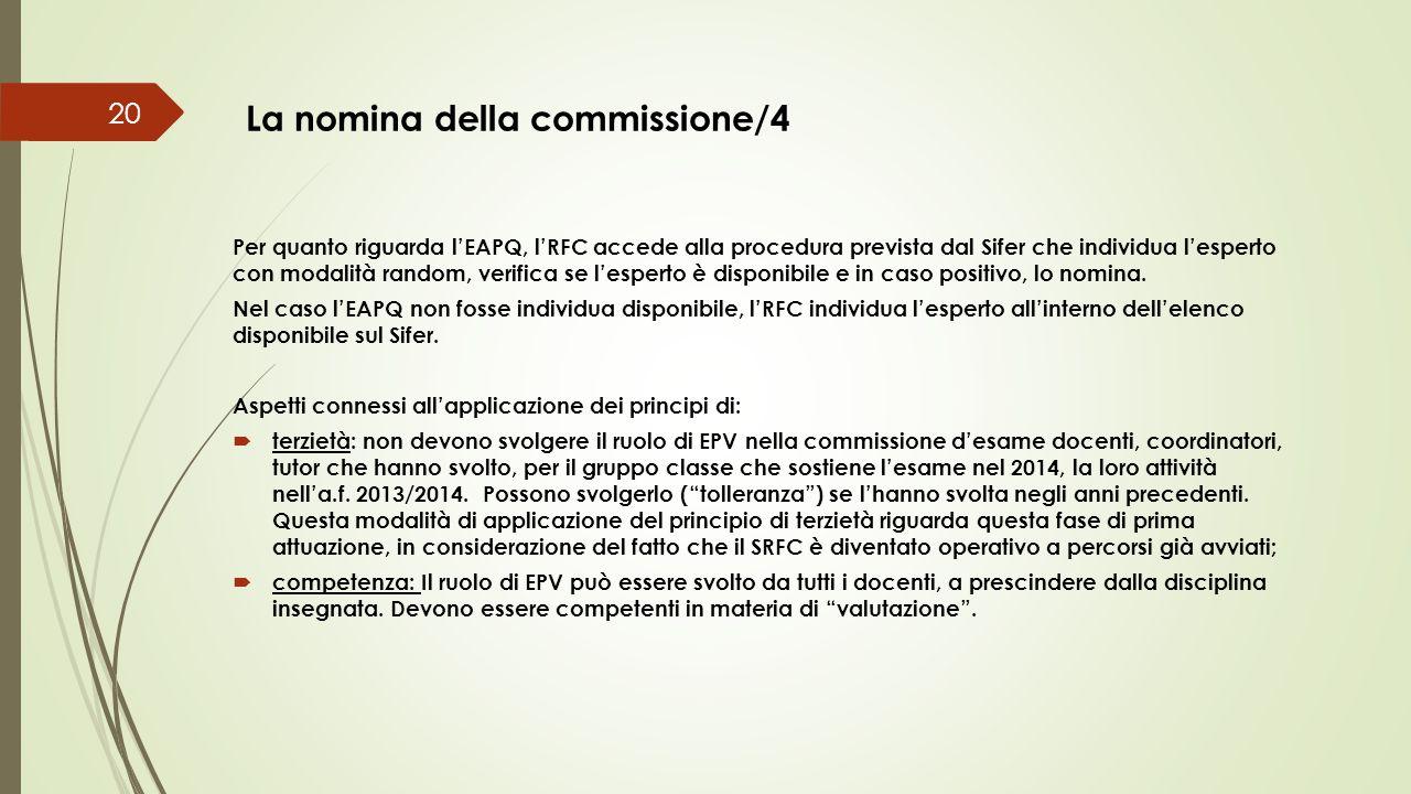 La nomina della commissione/4 20 Per quanto riguarda l'EAPQ, l'RFC accede alla procedura prevista dal Sifer che individua l'esperto con modalità rando