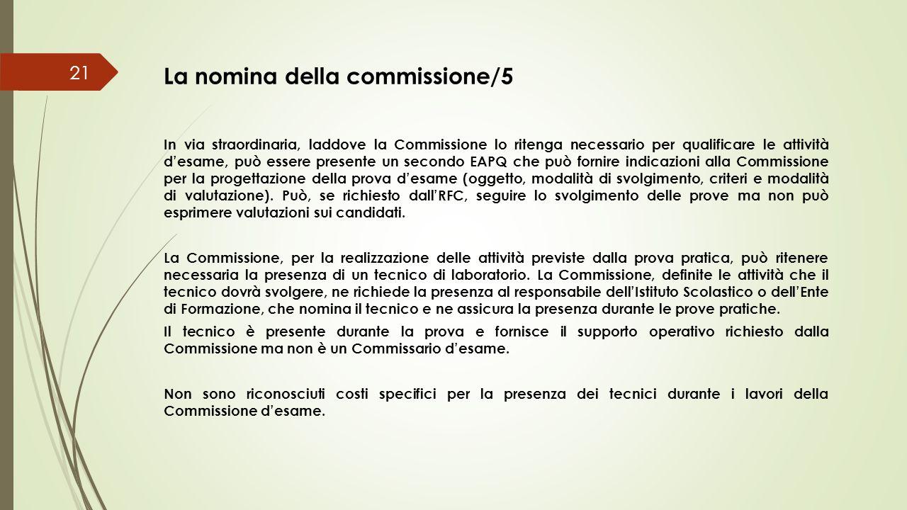 La nomina della commissione/5 21 In via straordinaria, laddove la Commissione lo ritenga necessario per qualificare le attività d'esame, può essere pr