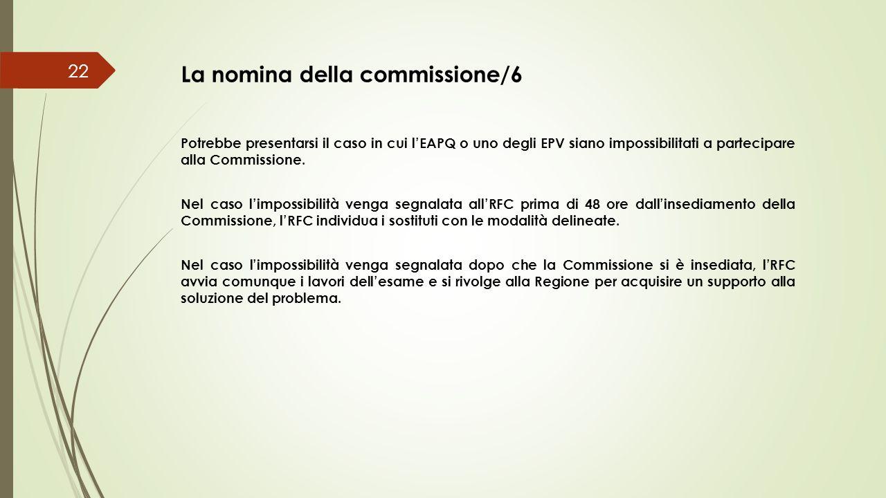 La nomina della commissione/6 22 Potrebbe presentarsi il caso in cui l'EAPQ o uno degli EPV siano impossibilitati a partecipare alla Commissione. Nel