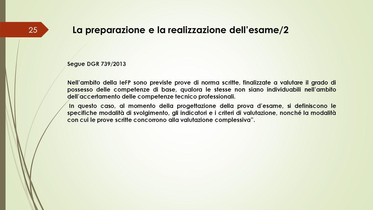 La preparazione e la realizzazione dell'esame/2 25 Segue DGR 739/2013 Nell'ambito della IeFP sono previste prove di norma scritte, finalizzate a valut