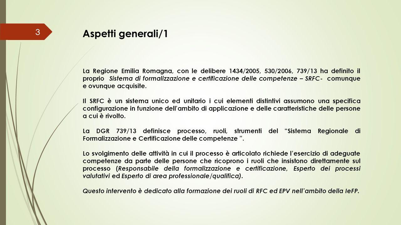 La Regione Emilia Romagna, con le delibere 1434/2005, 530/2006, 739/13 ha definito il proprio Sistema di formalizzazione e certificazione delle compet