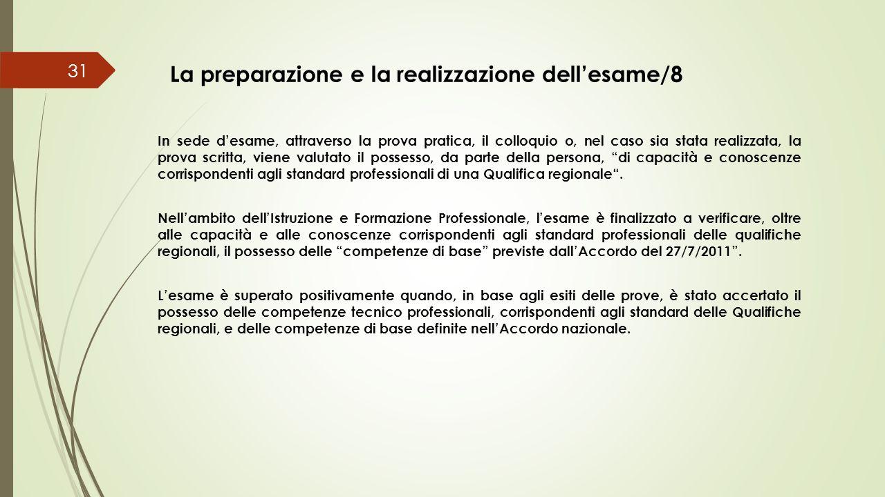 La preparazione e la realizzazione dell'esame/8 31 In sede d'esame, attraverso la prova pratica, il colloquio o, nel caso sia stata realizzata, la pro