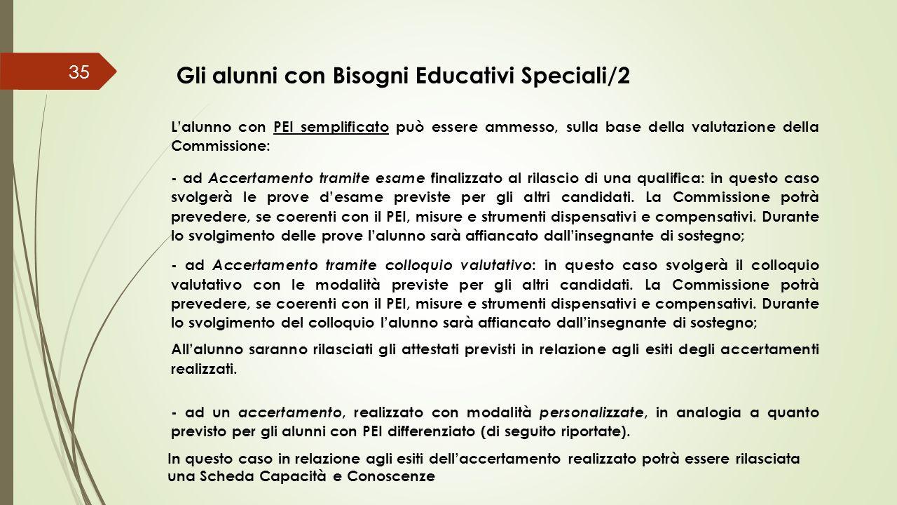 35 L'alunno con PEI semplificato può essere ammesso, sulla base della valutazione della Commissione: - ad Accertamento tramite esame finalizzato al ri