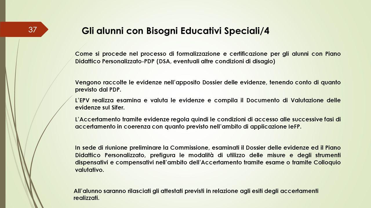 37 Gli alunni con Bisogni Educativi Speciali/4 Come si procede nel processo di formalizzazione e certificazione per gli alunni con Piano Didattico Per