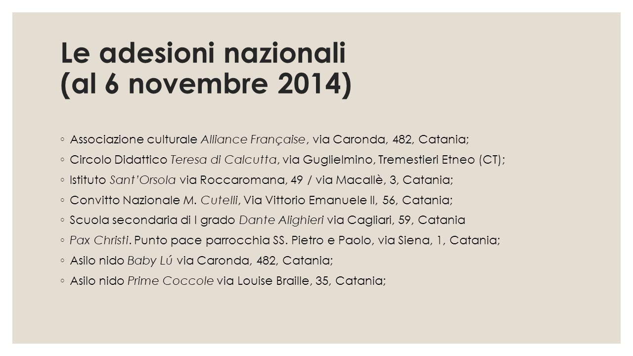 Le adesioni nazionali (al 6 novembre 2014) ◦ Associazione culturale Alliance Française, via Caronda, 482, Catania; ◦ Circolo Didattico Teresa di Calcu