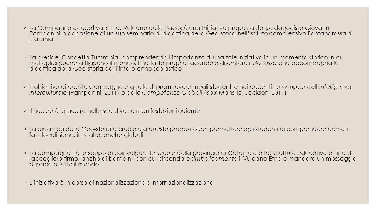 ◦ La Campagna educativa «Etna, Vulcano della Pace» è una Iniziativa proposta dal pedagogista Giovanni Pampanini in occasione di un suo seminario di di