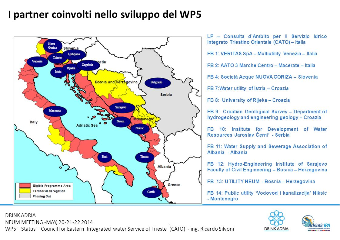 1 DRINK ADRIA NEUM MEETING -MAY, 20-21-22 2014 WP5 – Status – Council for Eastern Integrated water Service of Trieste (CATO) - ing. Ricardo Silvoni I