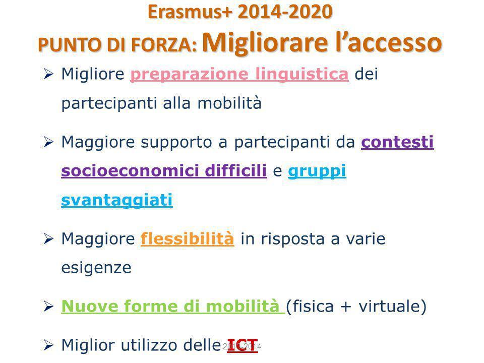  Migliore preparazione linguistica dei partecipanti alla mobilità  Maggiore supporto a partecipanti da contesti socioeconomici difficili e gruppi sv
