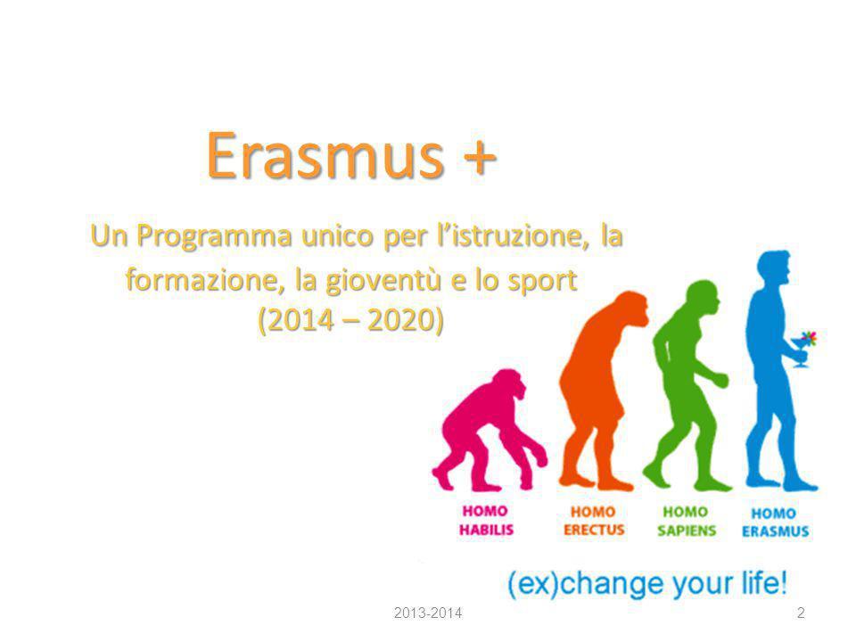Erasmus + Un Programma unico per l'istruzione, la formazione, la gioventù e lo sport (2014 – 2020) 2013-20142