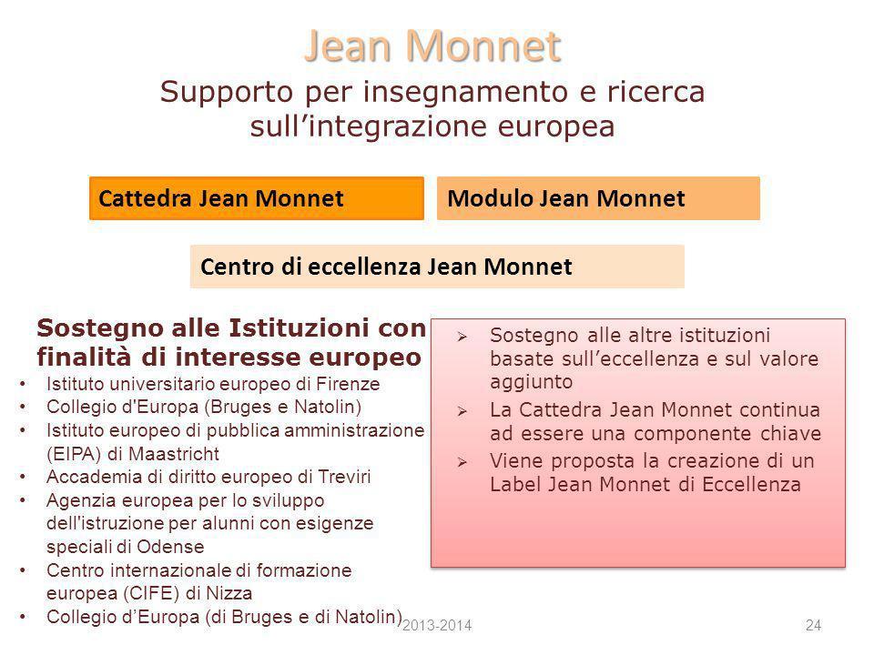 Jean Monnet Jean Monnet Supporto per insegnamento e ricerca sull'integrazione europea  Sostegno alle altre istituzioni basate sull'eccellenza e sul v