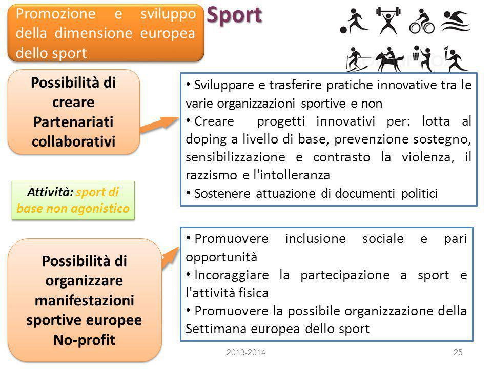 Sport 2013-201425 Promozione e sviluppo della dimensione europea dello sport Promuovere inclusione sociale e pari opportunità Incoraggiare la partecip