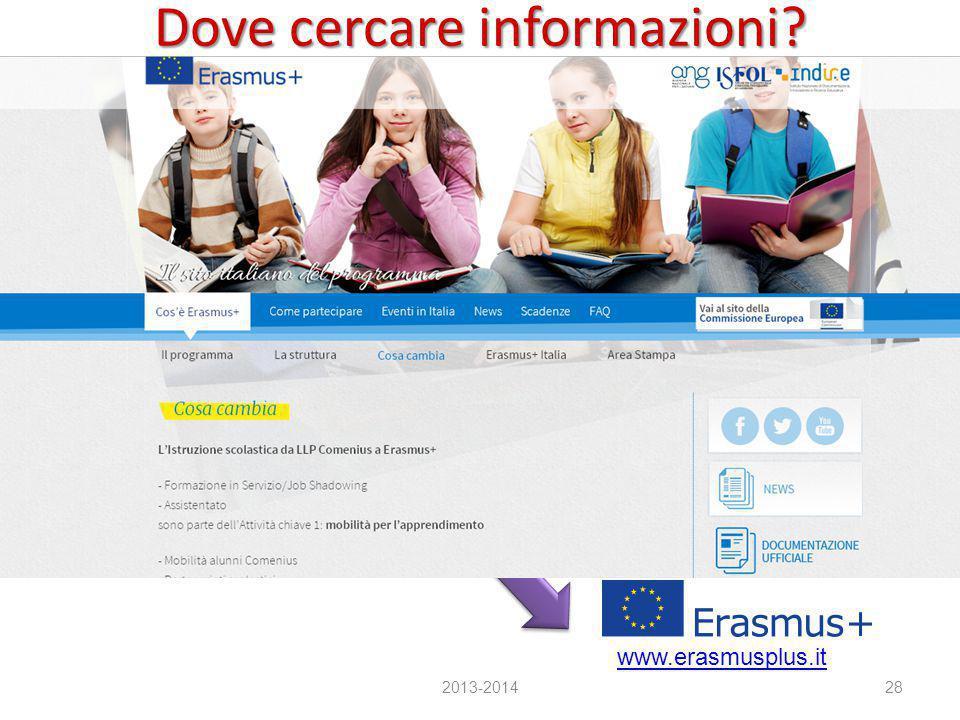 Dove cercare informazioni? A livello nazionale 2013-201428 Agenzia Giovani http://www.agenziagiovani.it/erasmusplus.aspx Agenzie nazionali – ISFOL (Le