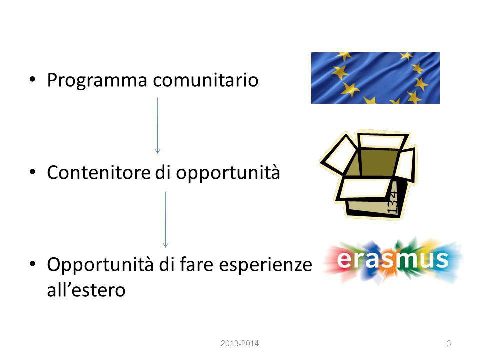 Programma comunitario Contenitore di opportunità Opportunità di fare esperienze all'estero 2013-20143