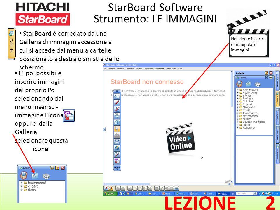 LEZIONE 2 StarBoard Software Strumento: LE IMMAGINI StarBoard è corredato da una Galleria di immagini accessorie a cui si accede dal menu a cartelle posizionato a destra o sinistra dello schermo.