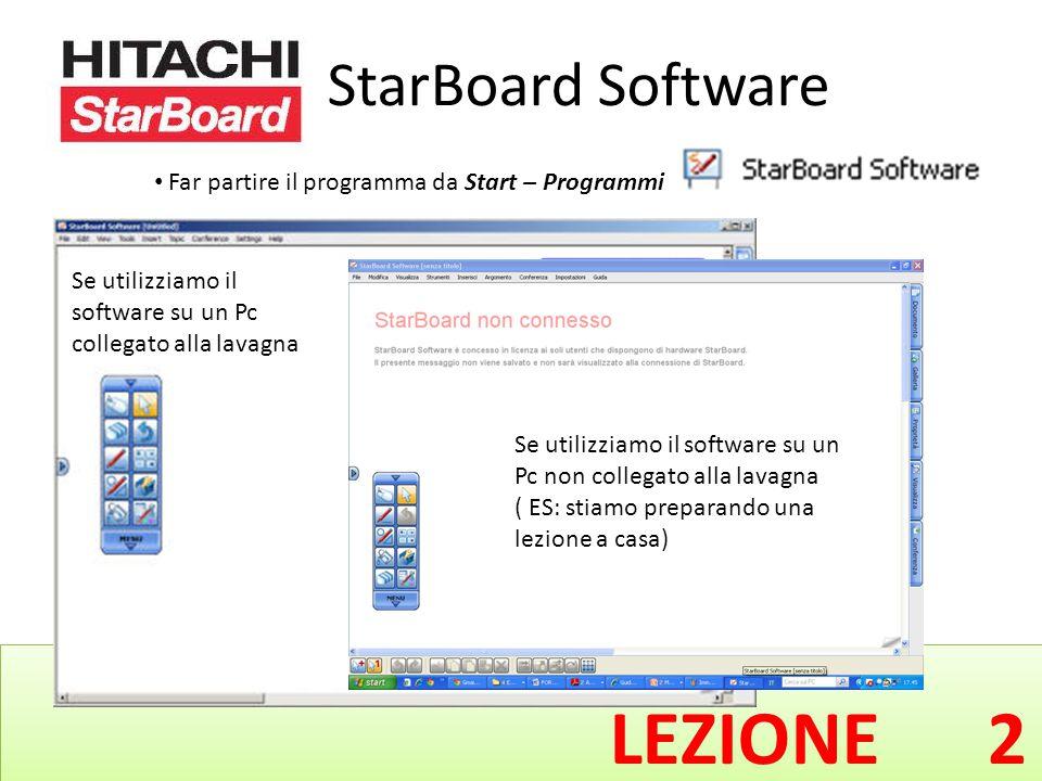 StarBoard Software Far partire il programma da Start – Programmi - Se utilizziamo il software su un Pc non collegato alla lavagna ( ES: stiamo preparando una lezione a casa) Se utilizziamo il software su un Pc collegato alla lavagna